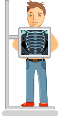 Imagem representativa de uma pessoa fazendo um raio-x no tórax.