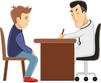 Imagem representativa de um médico atendendo um paciente, ambos sentados, separados pela mesa de trabalho do médico, que escreve em uma folha.